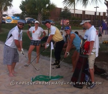 Easy No-Sew DIY Golfers Group Costume with Caddie