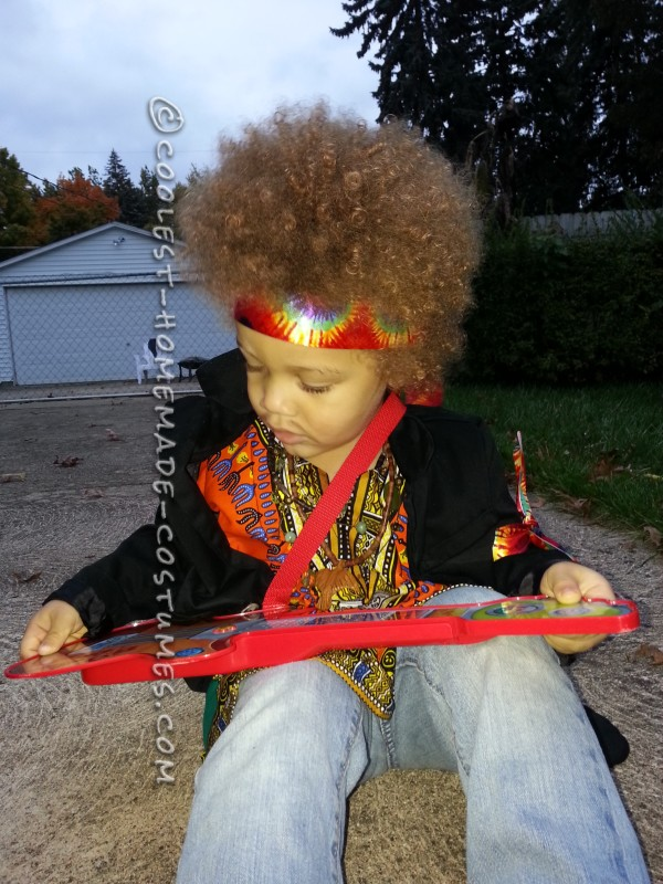 Homemade Jimi Hendrix Costume for a Boy - 7