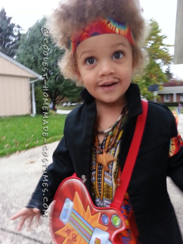 Homemade Jimi Hendrix Costume for a Boy - 3