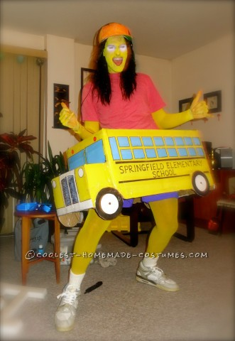 Homemade Simpsons Costume: Otto Featuring Springfield School Bus
