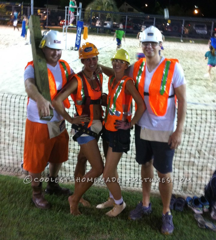 Easy No-Sew DIY Construction Workers Group Costume