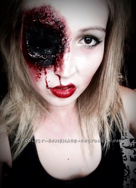 Grotesque Shot Gun Sally Makeup for Halloween - 1