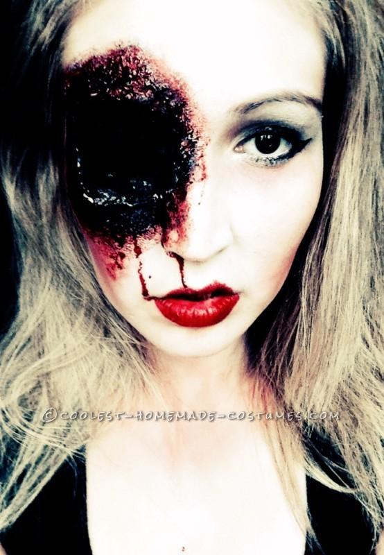 Grotesque Shot Gun Sally Makeup for Halloween - 3