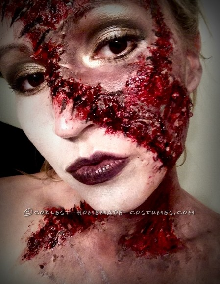 Horrific Stitched-Up Prom Queen Makeup