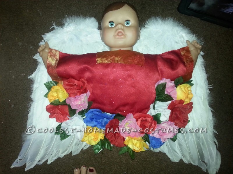 The angel before he was attached to the front of the dress