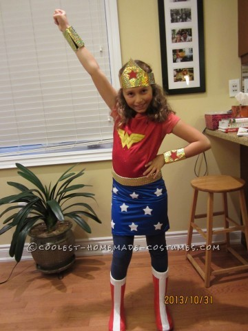 Cool Homemade Wonder Woman Costume for Girls