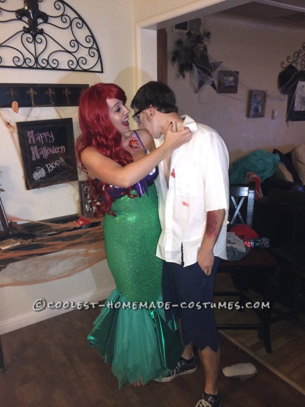 Zombie Prince Eric and Innocent Ariel Couple Costume
