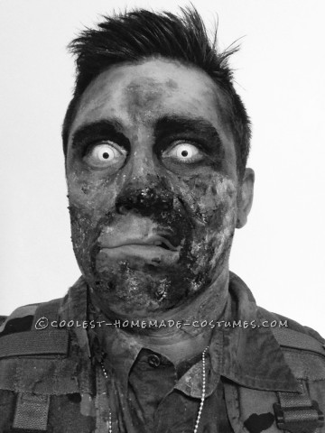 Zombie Soldier Makeup and Costume