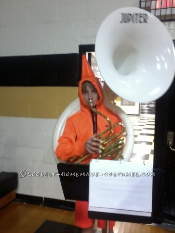 A Traffic Cone Playing a Sousaphone