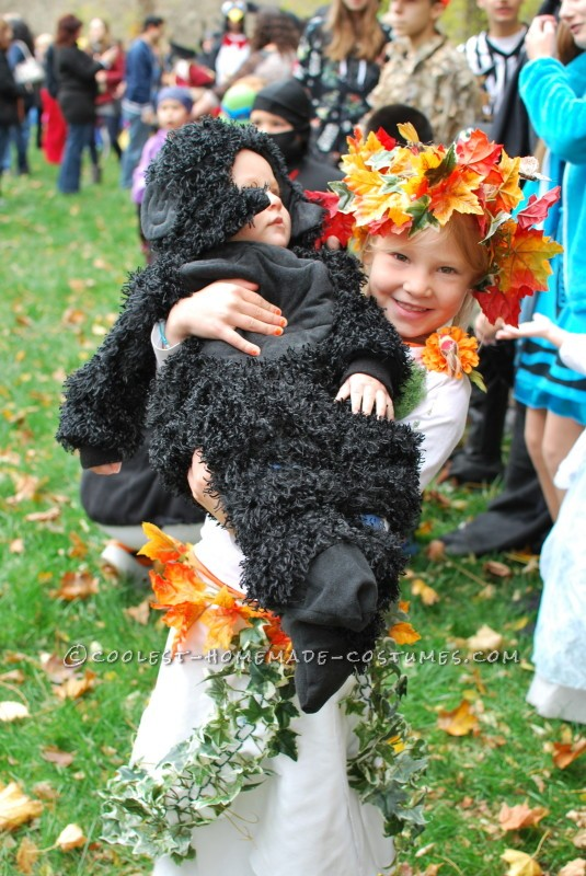 Mother Earth holding baby brother Gorilla- also homemade costume