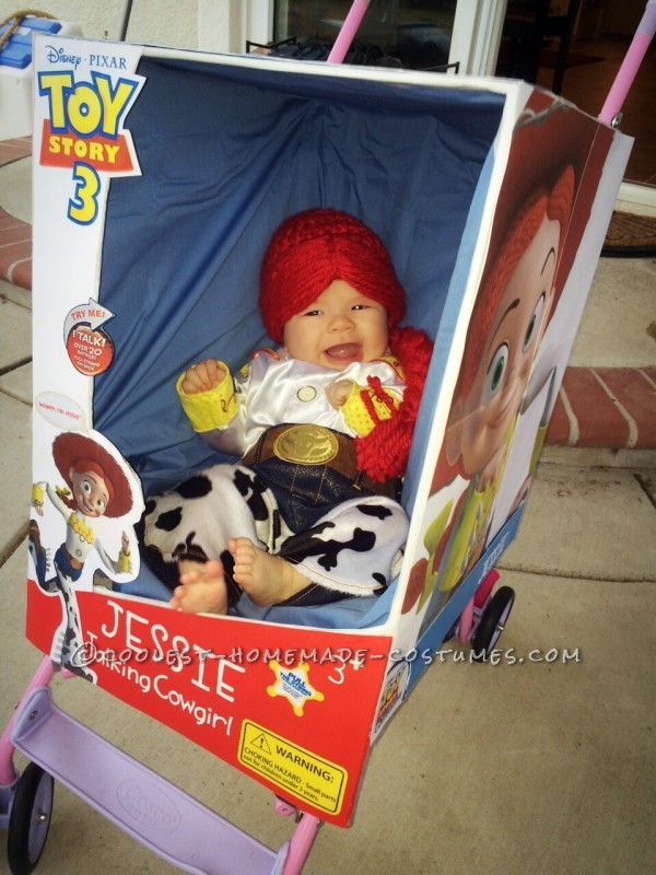 My happy baby in her doll box