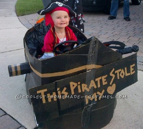 Homemade Toddler Pirate Costume with Pirate Ship Buggy