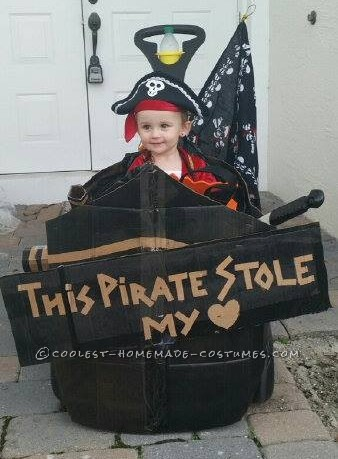 Homemade Toddler Pirate Costume with Pirate Ship Buggy - 1