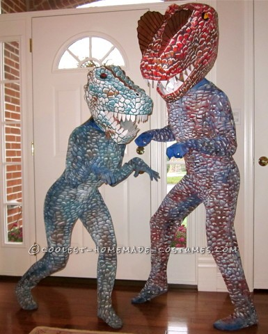 Super Cool Homemade Dinosaur Couple Costume