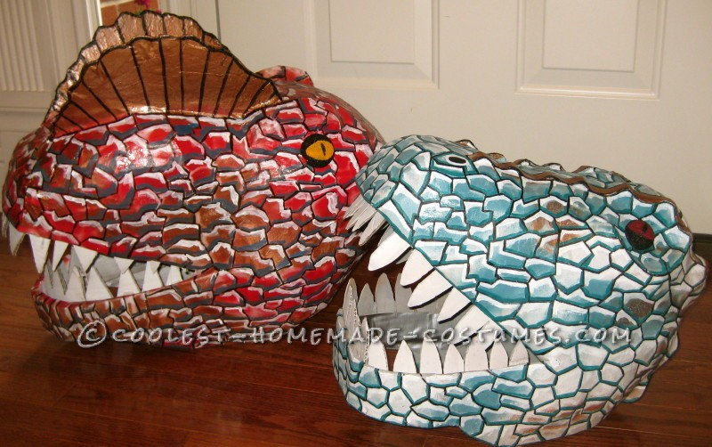 Super Cool Homemade Dinosaur Couple Costume - 7