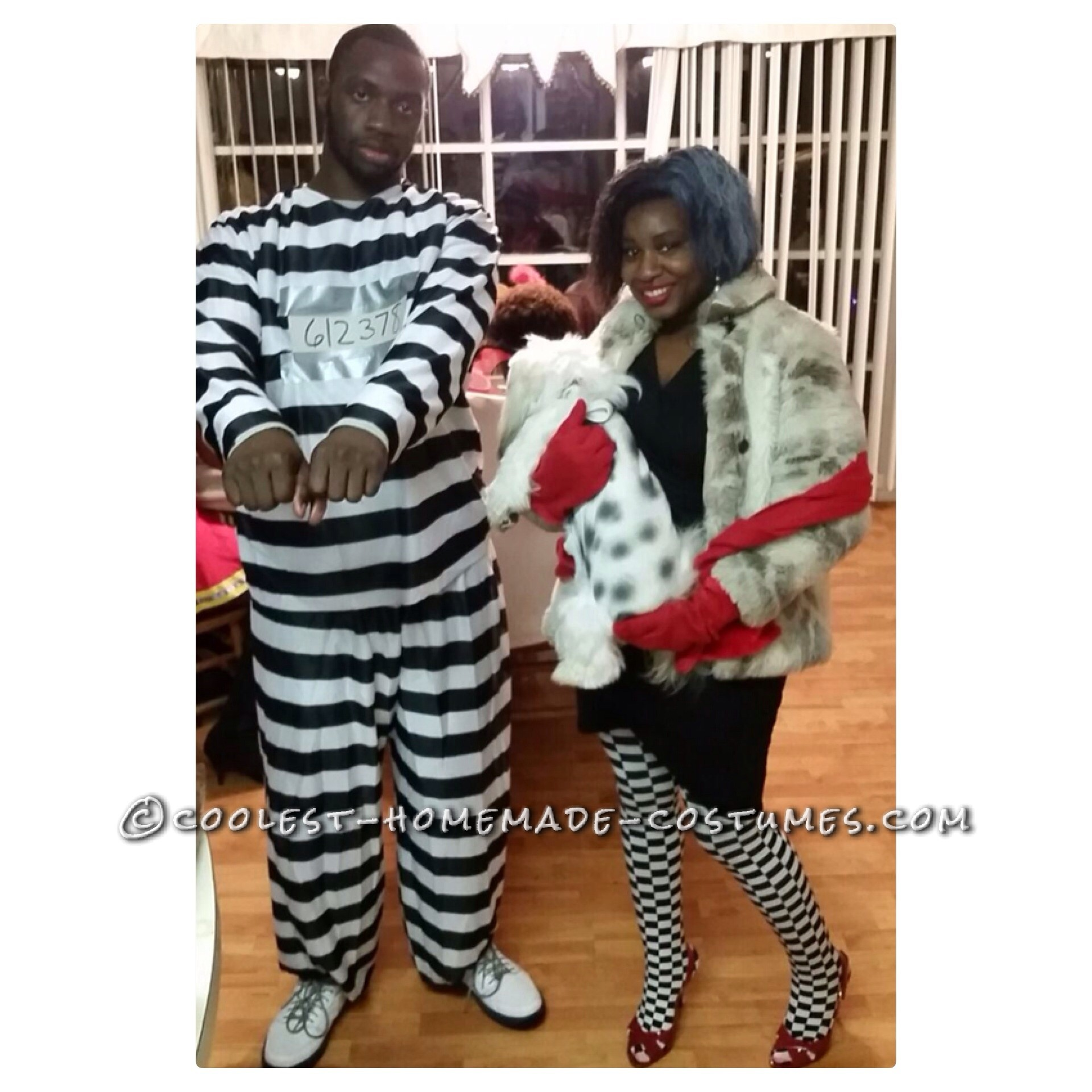 Cruella Deville and Jail Bird Accomplice Couple Costume