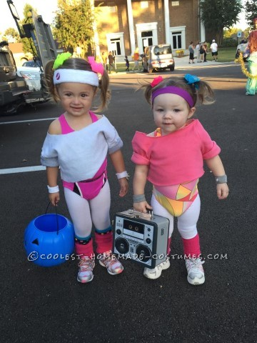 Cutest 80's Workout Girls Couple Costume for Toddlers