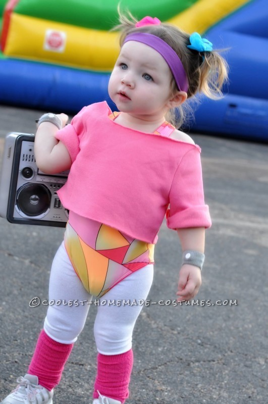 cutest 80s workout girls couple costume for toddlers