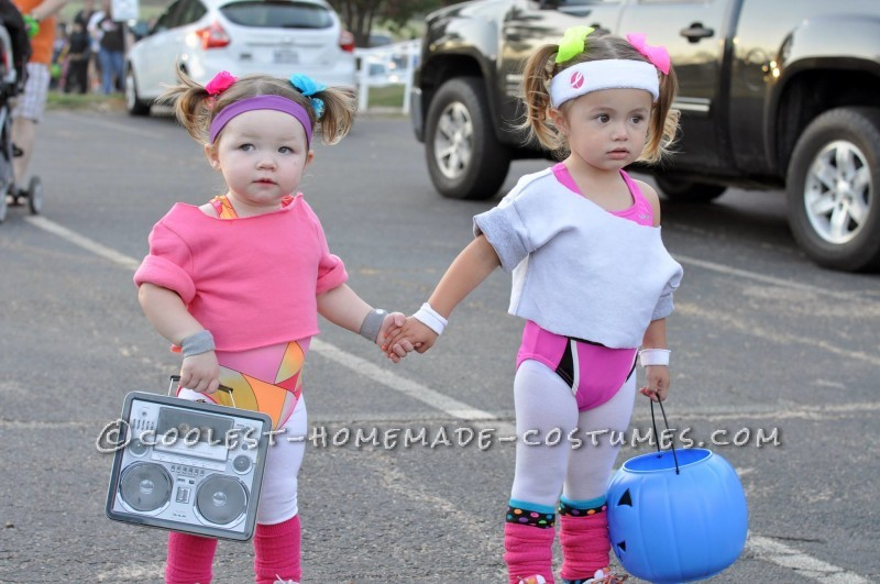 Cutest 80's Workout Girls Couple Costume for Toddlers - 1