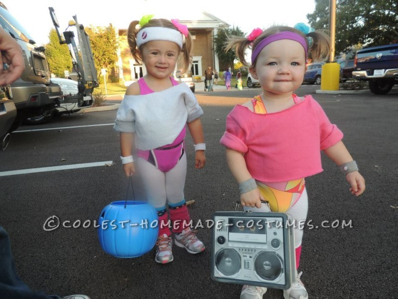 Cutest 80's Workout Girls Couple Costume for Toddlers - 6