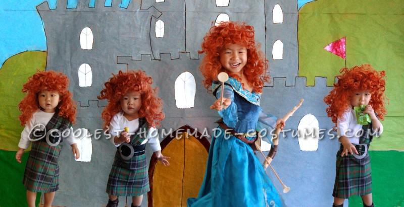 Disney Brave's Merida and her Triplet Siblings Group Costume