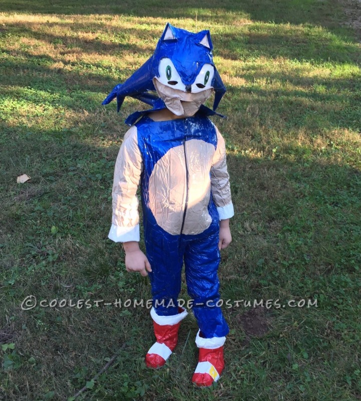 Homemade Duct Tape Sonic the Hedgehog Costume