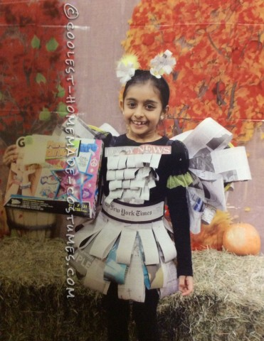 Easy, Inexpensive and Last-minute Girls Newspaper Fairy Costume