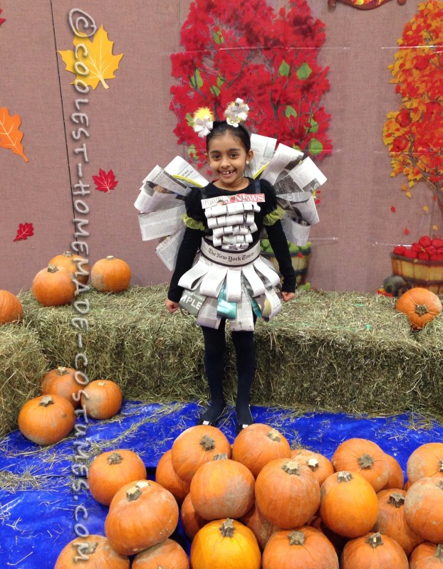 Easy, Inexpensive and Last-minute Girls Newspaper Fairy Costume - 1