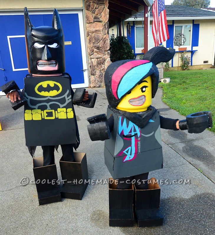 My 11 year-old daughter Madalyn as Batman and 3-year-old daughter Eva as Wyldstyle.