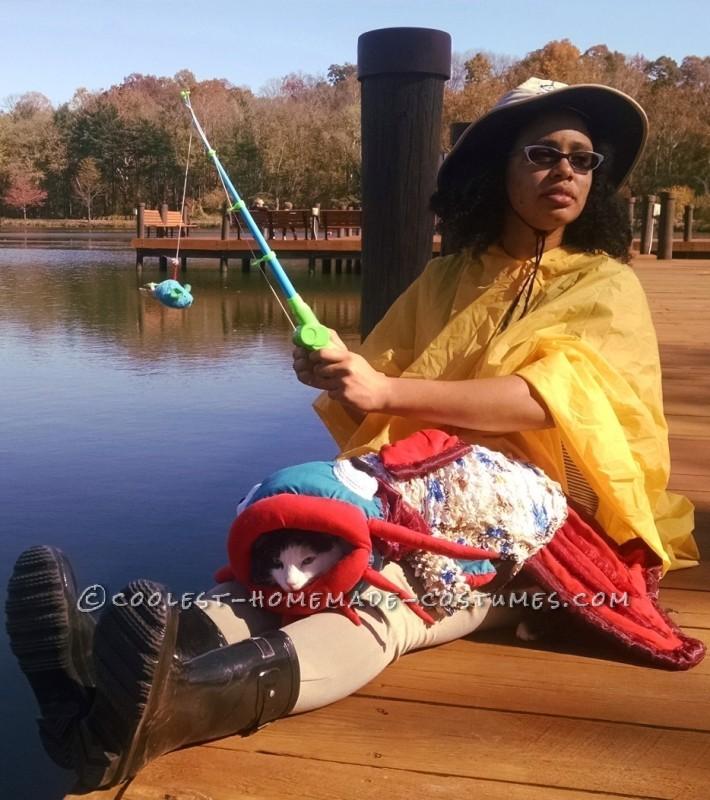 Fisherwoman and catfish at a lake