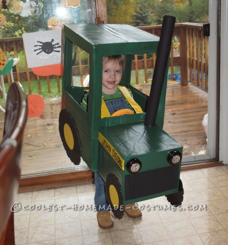 Cute and Homemade Farmer in a John Deere Tractor Costume