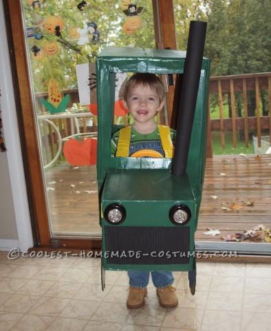 Cute and Homemade Farmer in a John Deere Tractor Costume