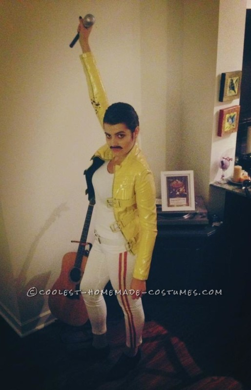 Homemade Freddie Mercury Costume for a Woman - 3