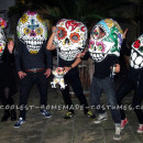 Awesome Giant Skull Heads with Poncho El Chihuahua Group Costume
