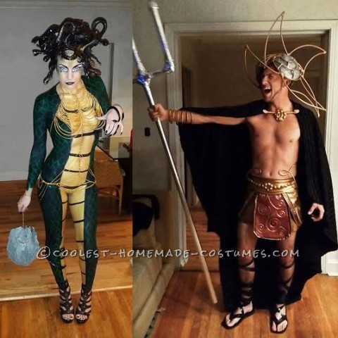 God Lovers Poseidon and Medusa Couple Costume