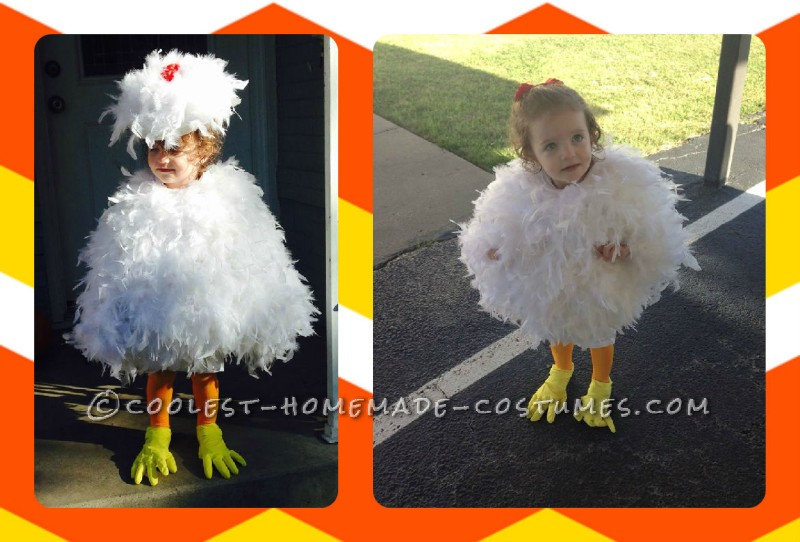 Cutest Toddler DIY Chicken Costume on a Budget