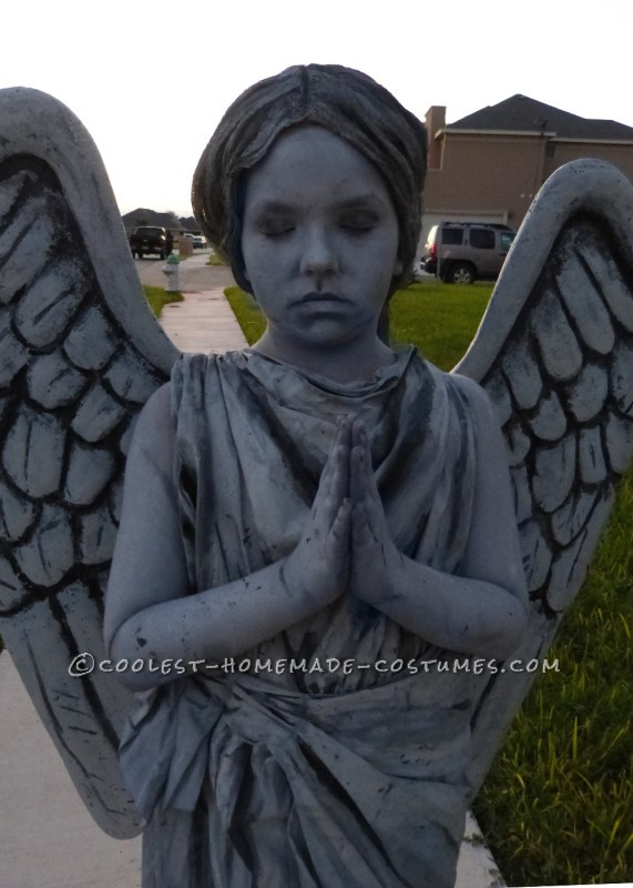 Homemade Guardian Angel Statue Costume for a 9 Year Old Girl