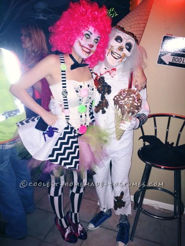 Handmade Super Creepy Ice Cream Man and Candy Clown Couple Costume
