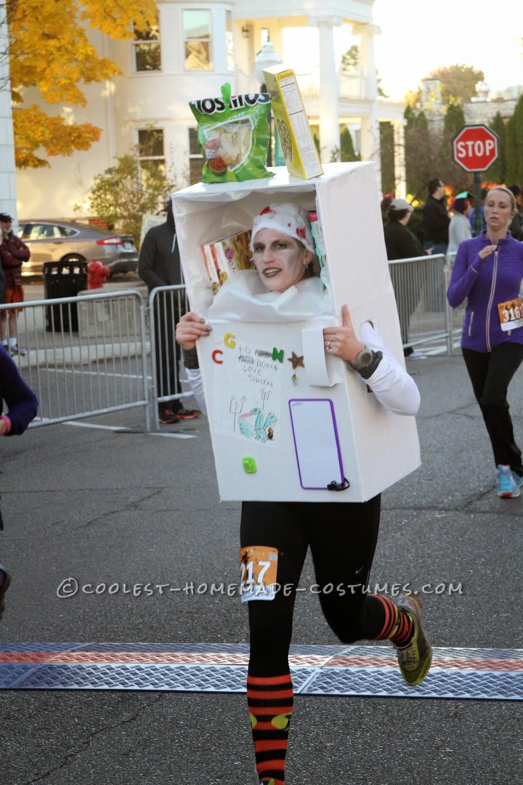 Homemade Head in the Freezer (Running Fridge!) Costume