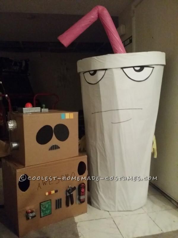 My A.W.E.S.O.M.-O. costume sitting next to the Master Shake costume I made for my husband!