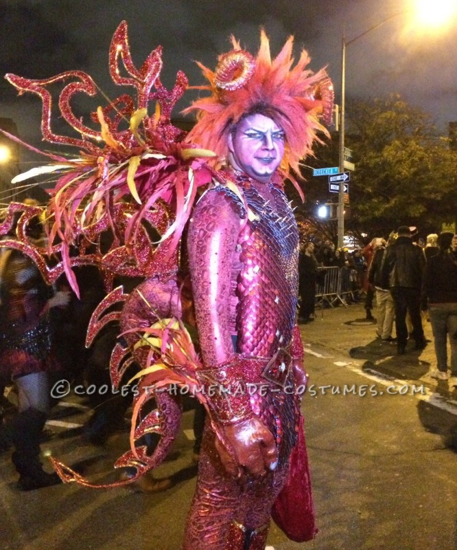 My costume was a sparkly, intricate detaile, red, winged dragon