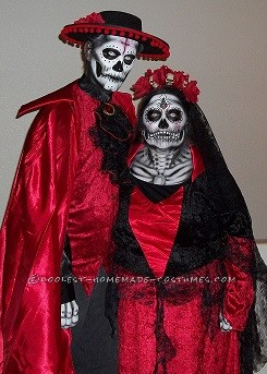 Incredible Dia De Los Muertos (Day of the Dead) Couples Costume