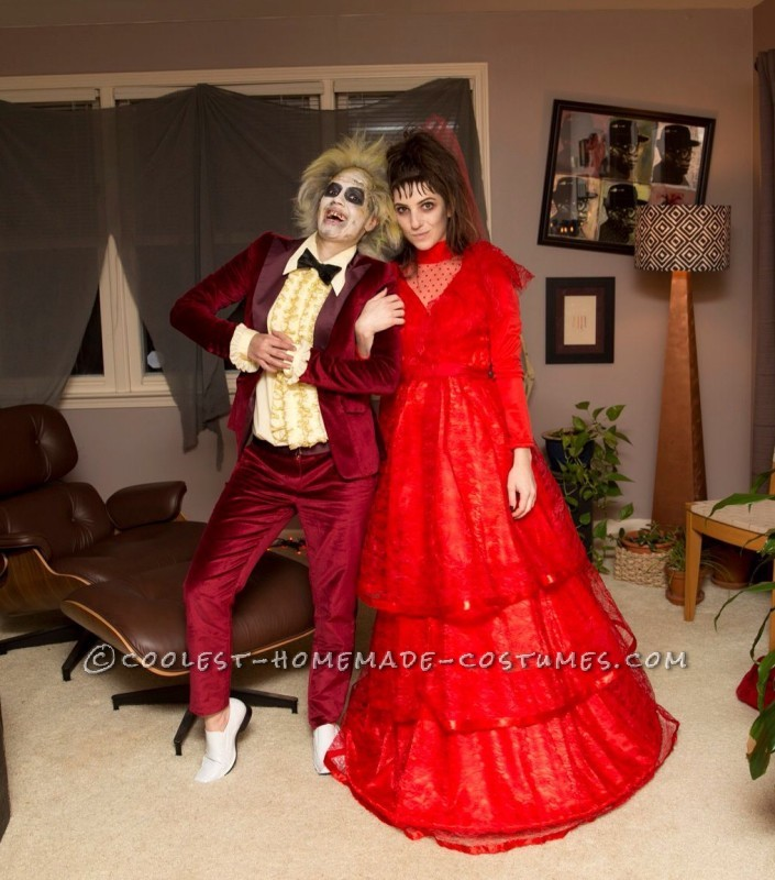 Lady Couple Beetlejuice and Lydia Homemade Costumes