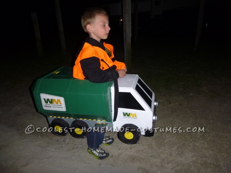 Homemade Lil' Garbage Truck Costume for a Boy - 1