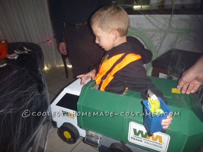 Homemade Lil' Garbage Truck Costume for a Boy - 3