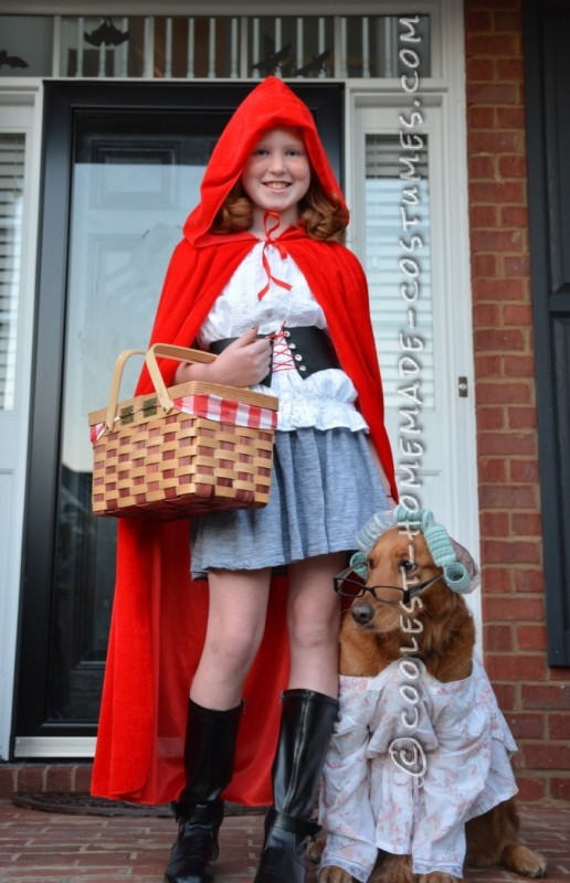 Little Red Riding Hood Child Costume and Grandmother Dog