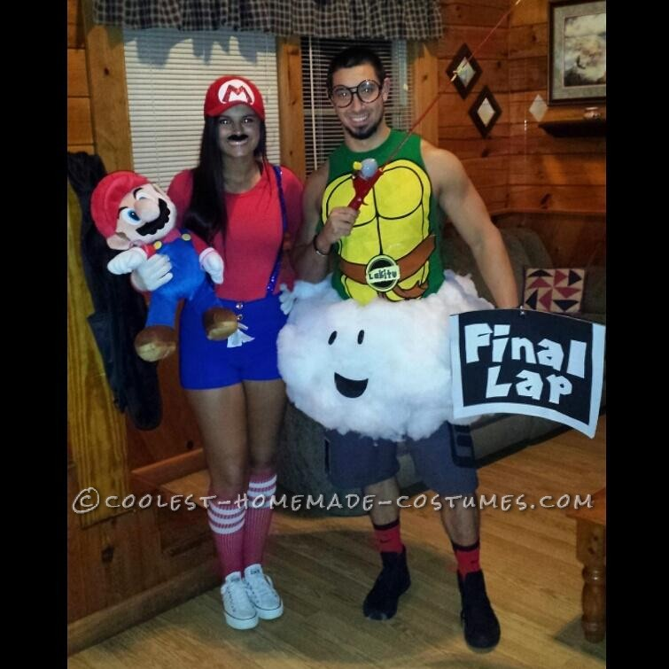 Homemade Mario and Lakitu (the Final Lap Guy) Couple Costume
