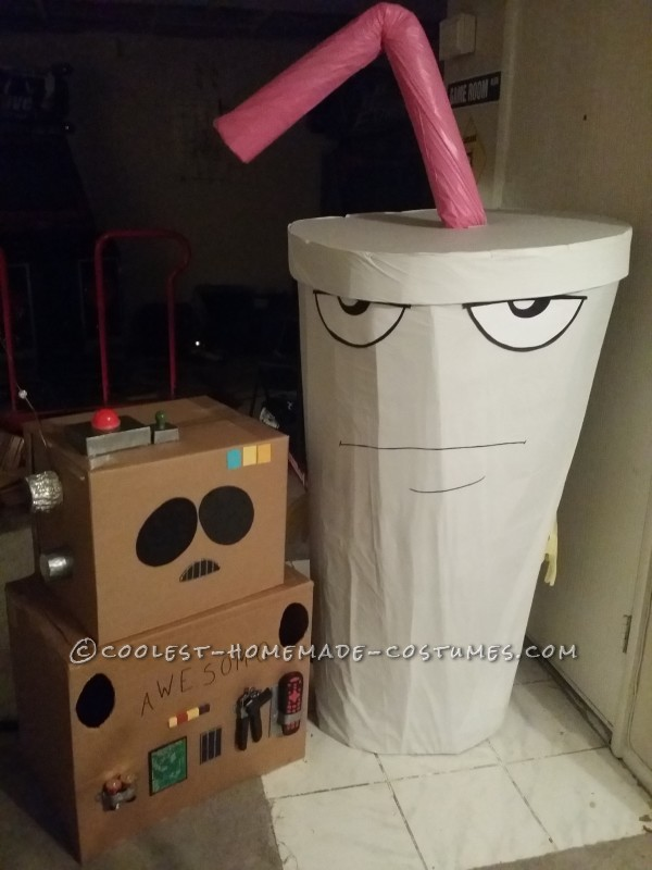My Master Shake costume sitting next to the A.W.E.S.O.M.-O costume I made for my husband!