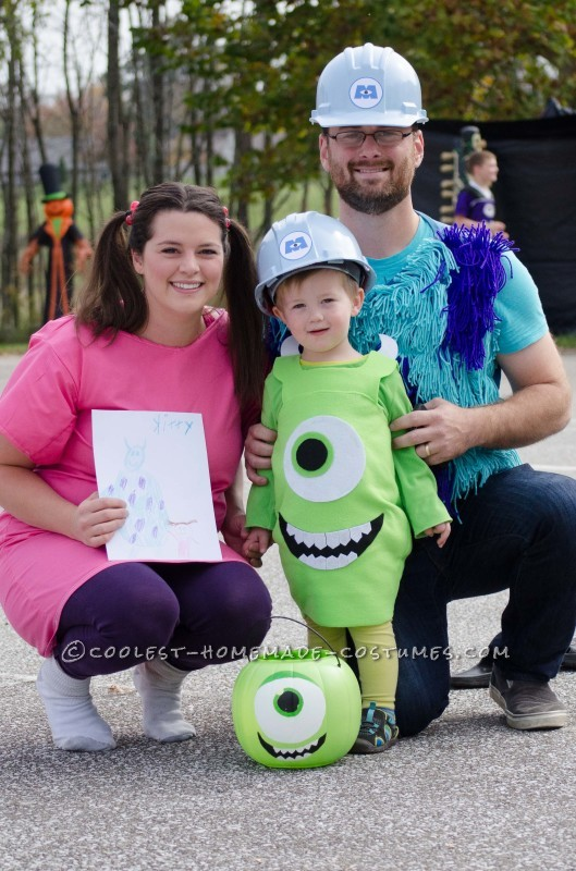 Boo, Mike Wazoski, and Sully from Monsters, Inc
