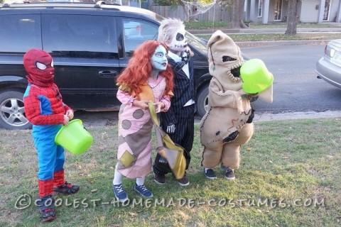 Coolest Oogie Boogie Costume with Jack and Sally from Nightmare Before Christmas
